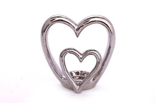 Double heart tea light holder