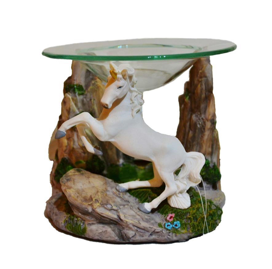 Unicorn design oil burner with rock