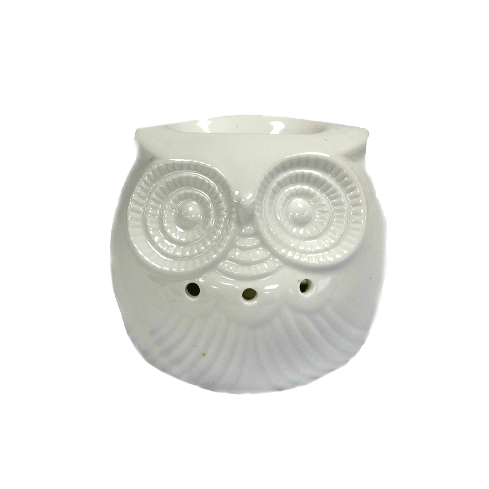 White ceramic owl oil burner