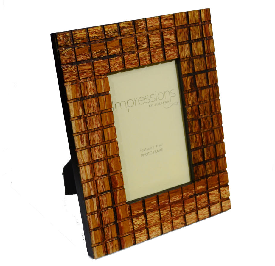 Wood mosaic design photo frame