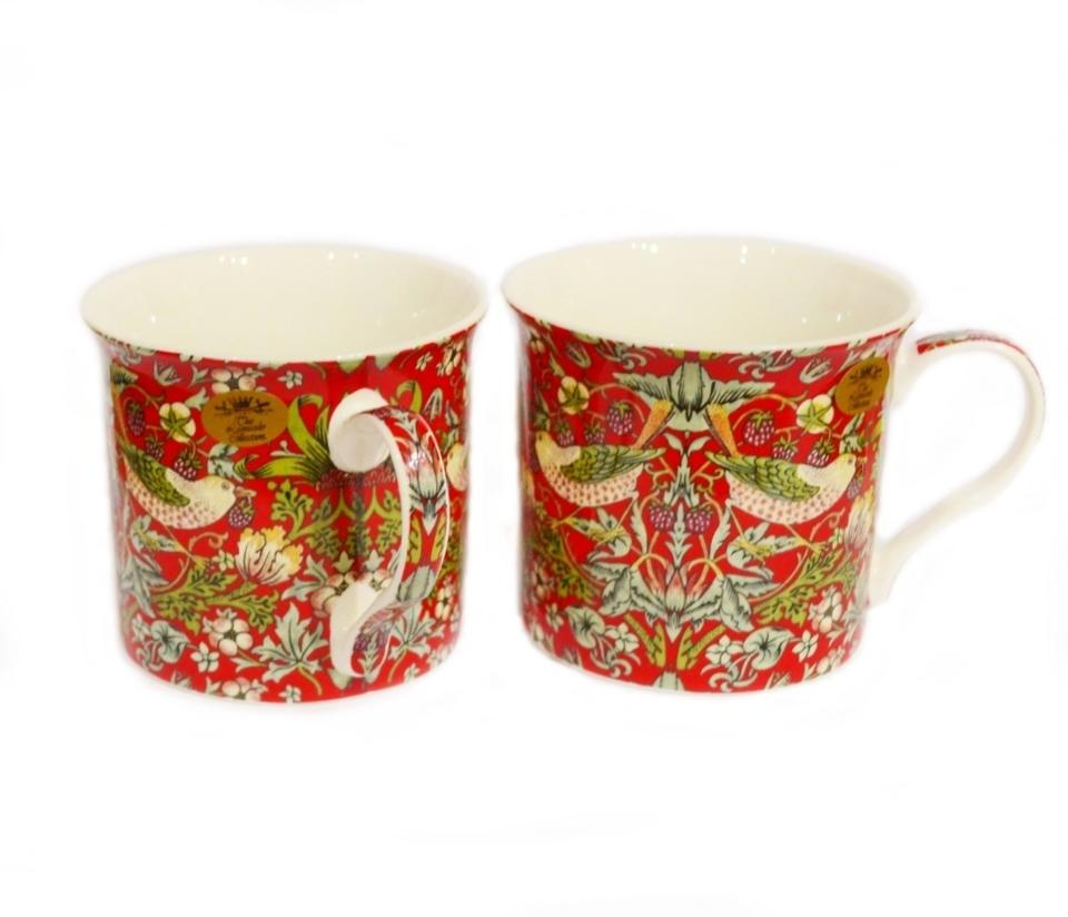 Pair of Strawberry Thief Fine China Cups