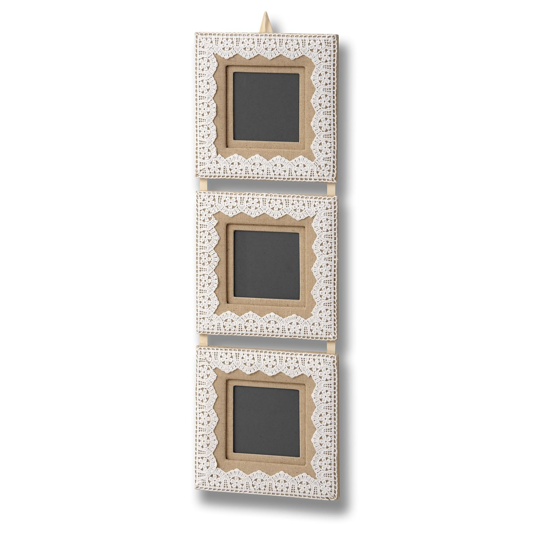 Lace & linen triple photo frame