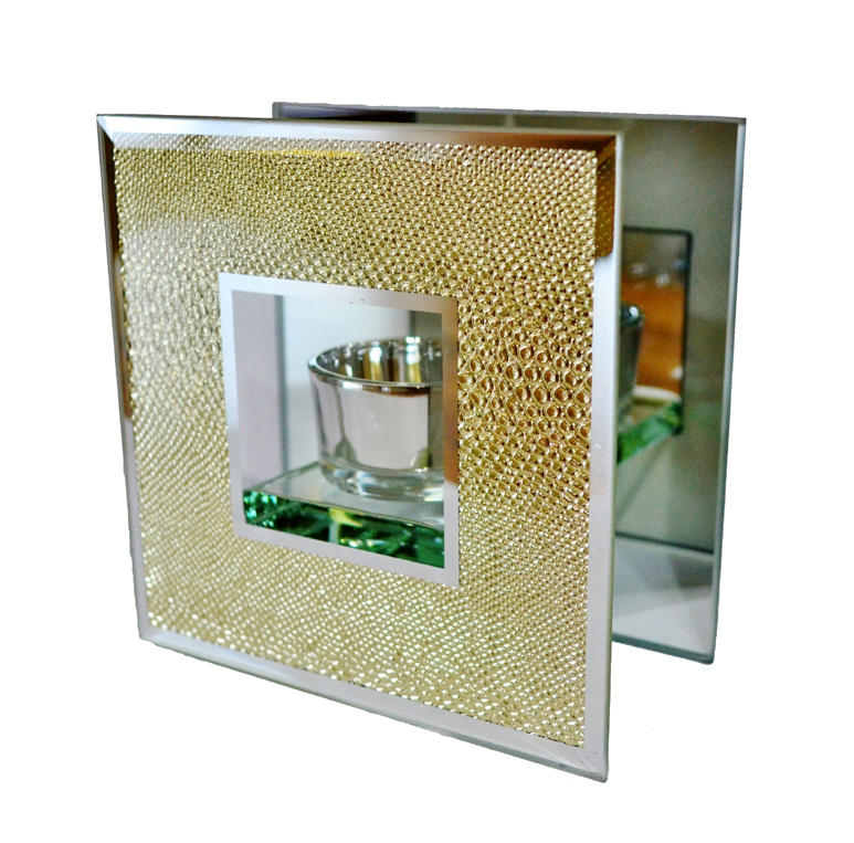 Gold snakeskin mirrored glass tea light holder