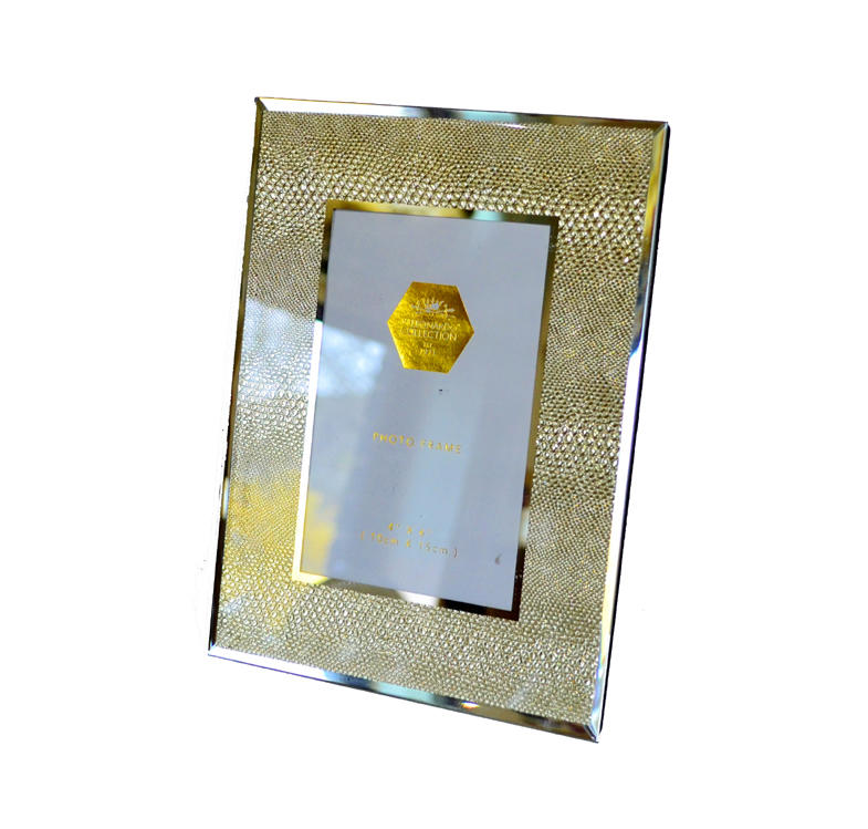 "Gold snakeskin mirrored glass photo frame (4"" x 6"")"