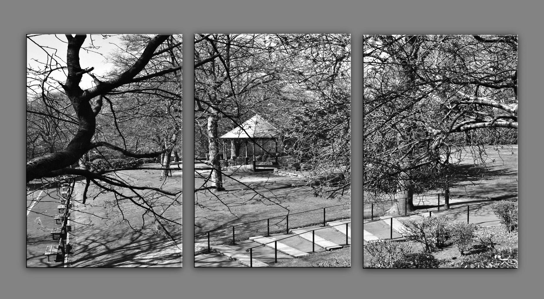 Bandstand in Jubilee Park in black & white