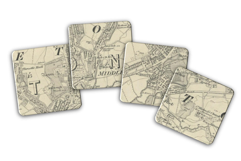 Middleton Town Centre 1845 Map Set of Four Coasters