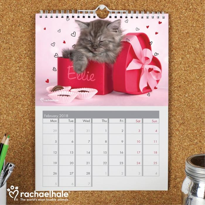 Personalised Rachael Hale Cats A4 Wall Calendar