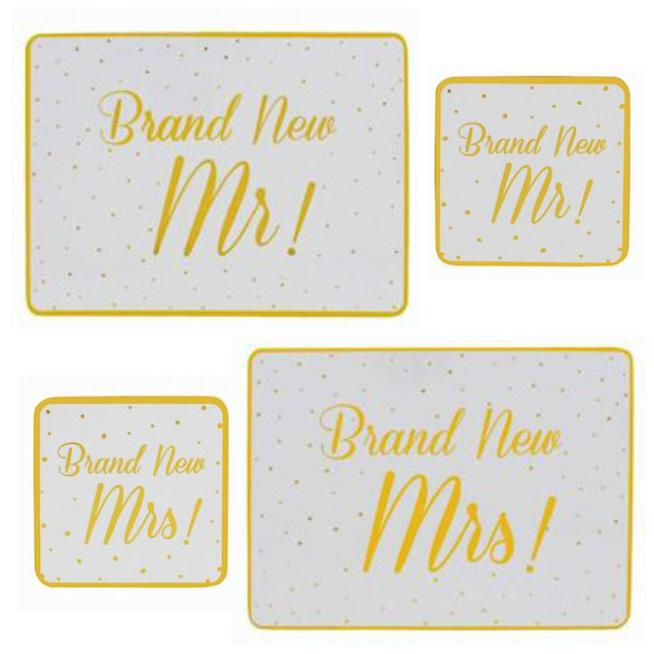 Brand New Mr/Brand New Mrs coaster & placemats