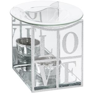 Silver glitter LOVE oil burner