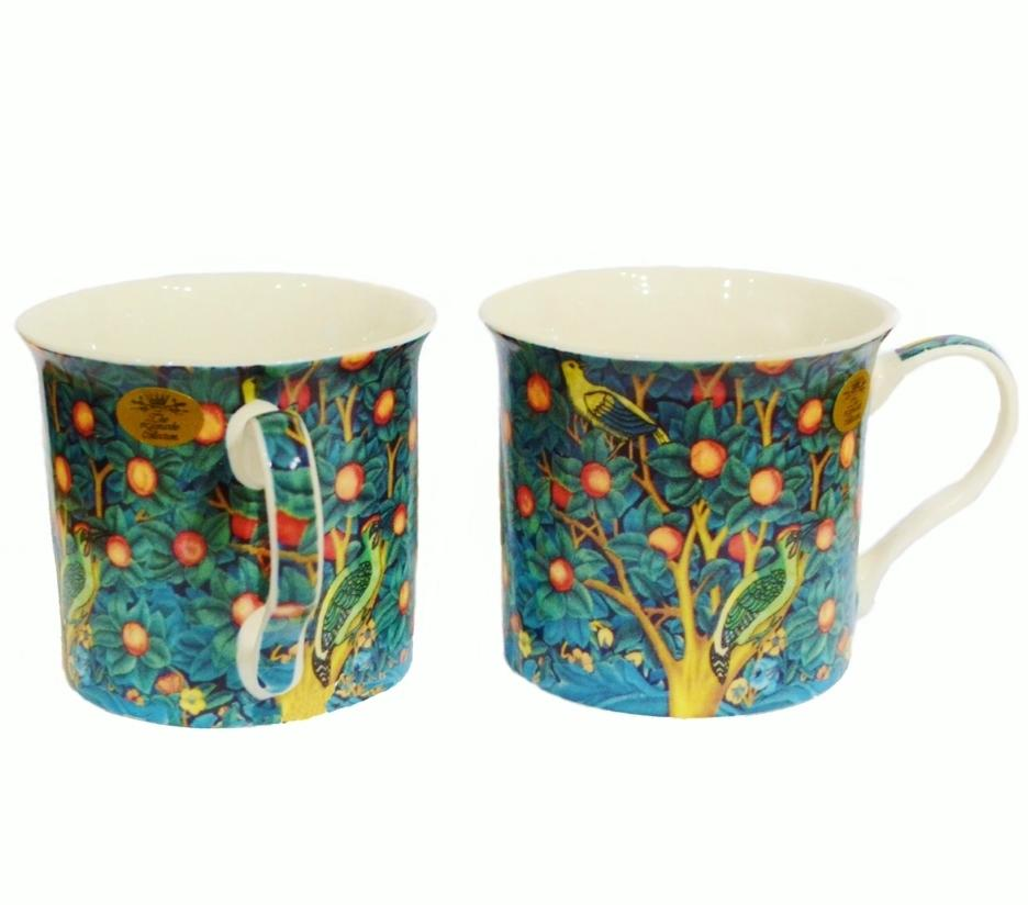 Pair of William Morris Fine China Cups - Orange Tree