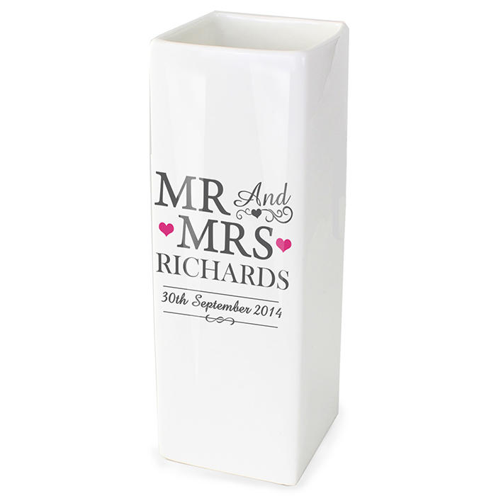 Personalised 'Mr & Mrs' square ceramic vase