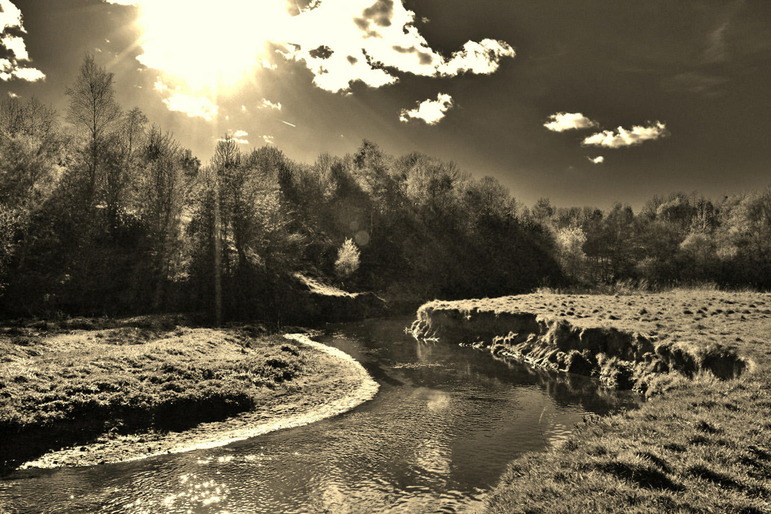 Sunshine on the Wince Brook in sepia