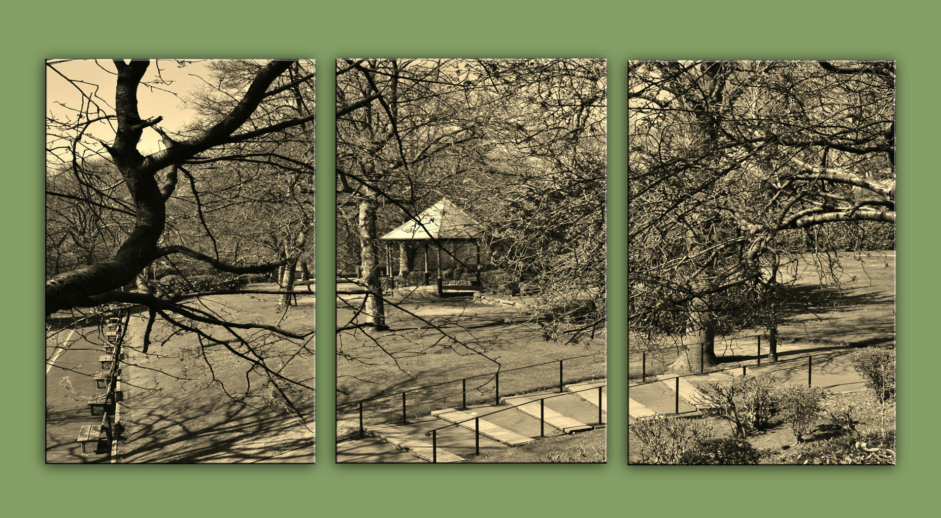 Bandstand in Jubilee Park in sepia