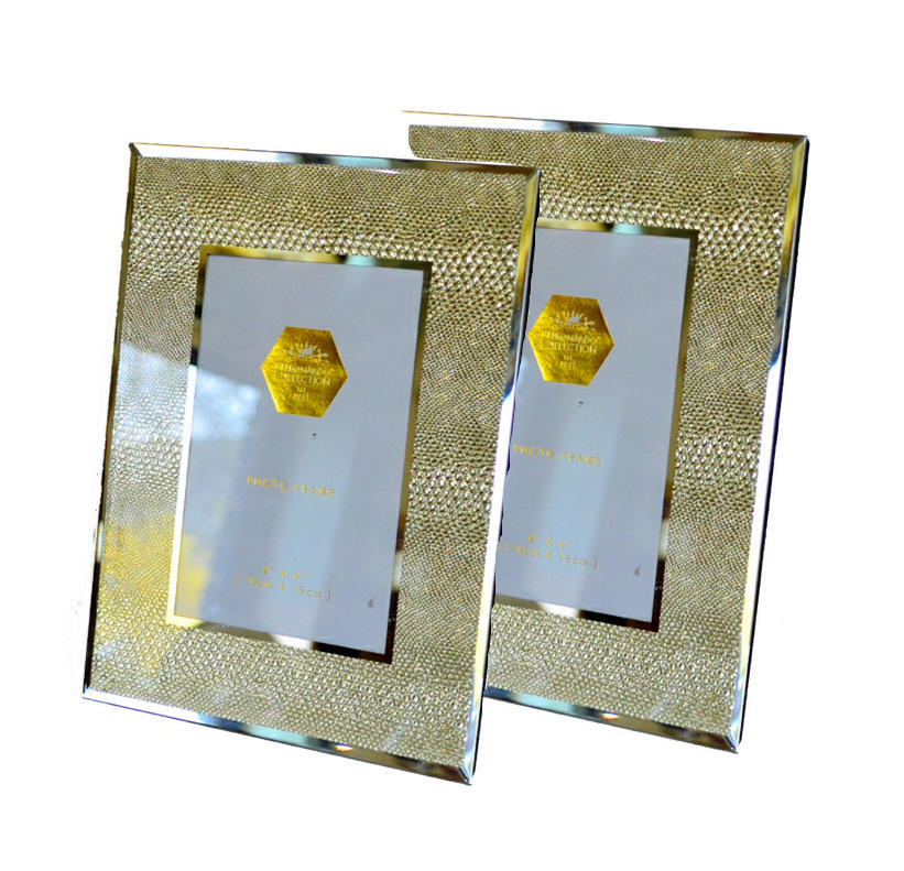 "2 Gold snakeskin mirrored glass photo frame (4"" x 6"")"