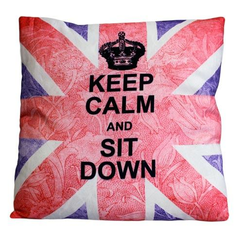 'Keep Calm & Sit Down' single cushion cover