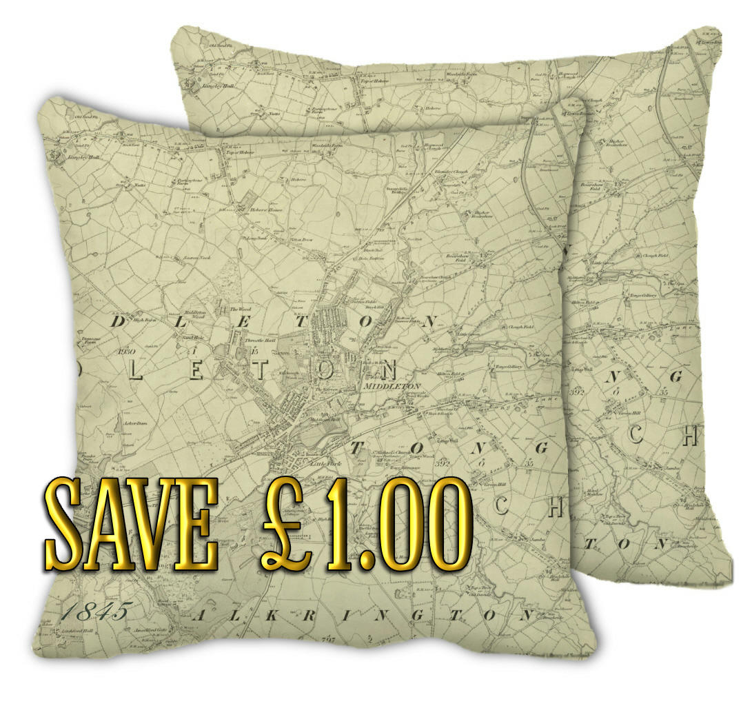 Pair of 1845 Middleton map cushion cover