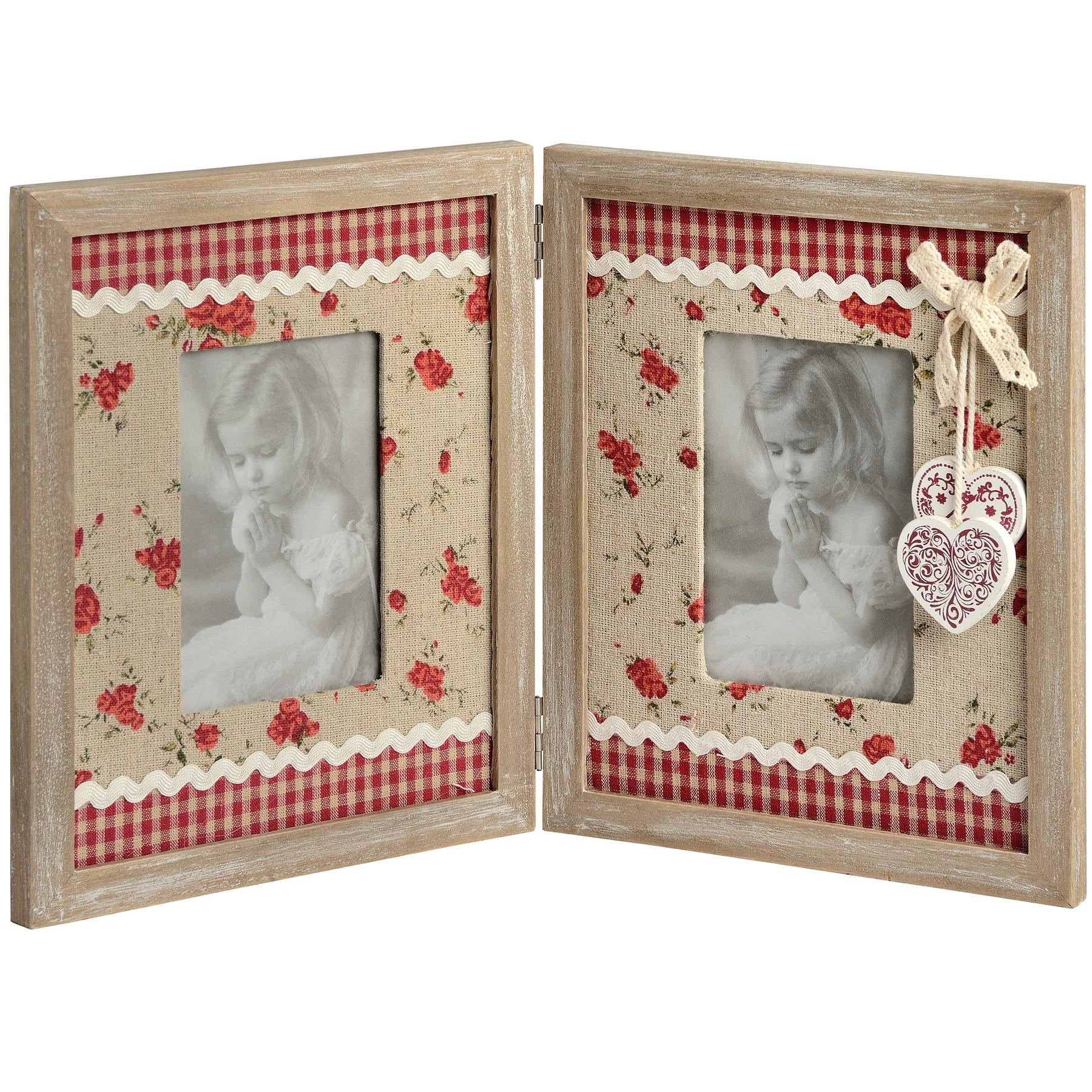 Double floral fabric portrait photo frame with hearts adornment