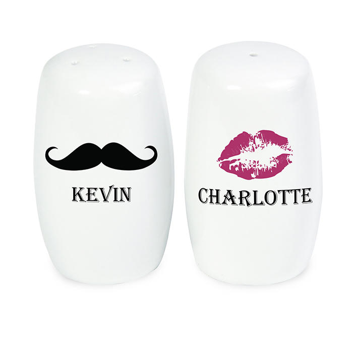 Personalised Moustache & Lips' salt & pepper shakers