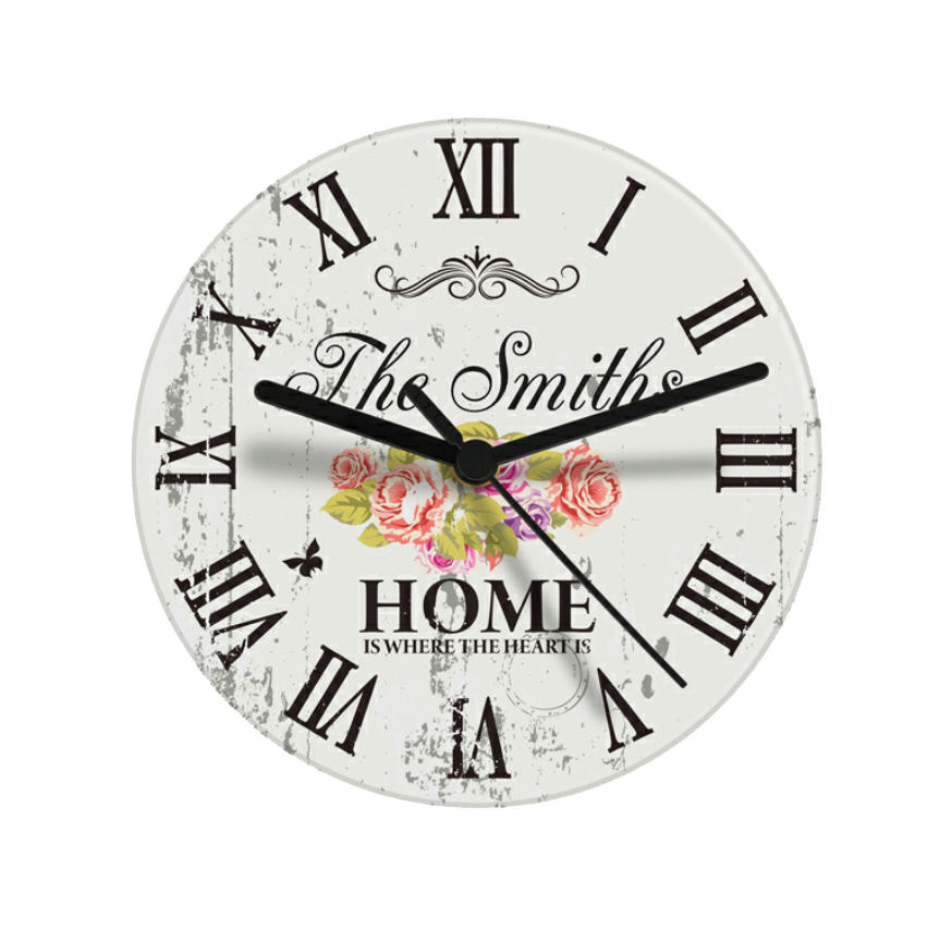 Personalised Glass Shabby Chic Floral Clock