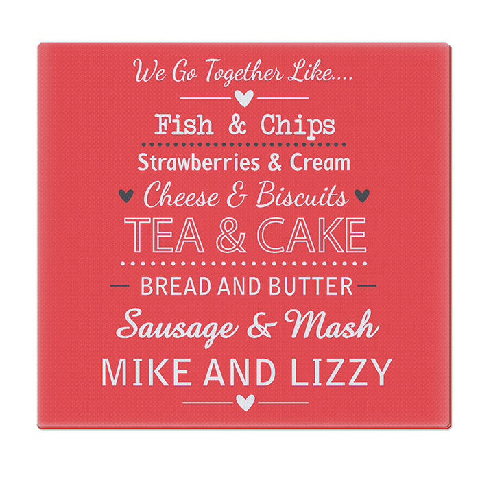 Personalised We Go Together Like... Glass Chopping Board