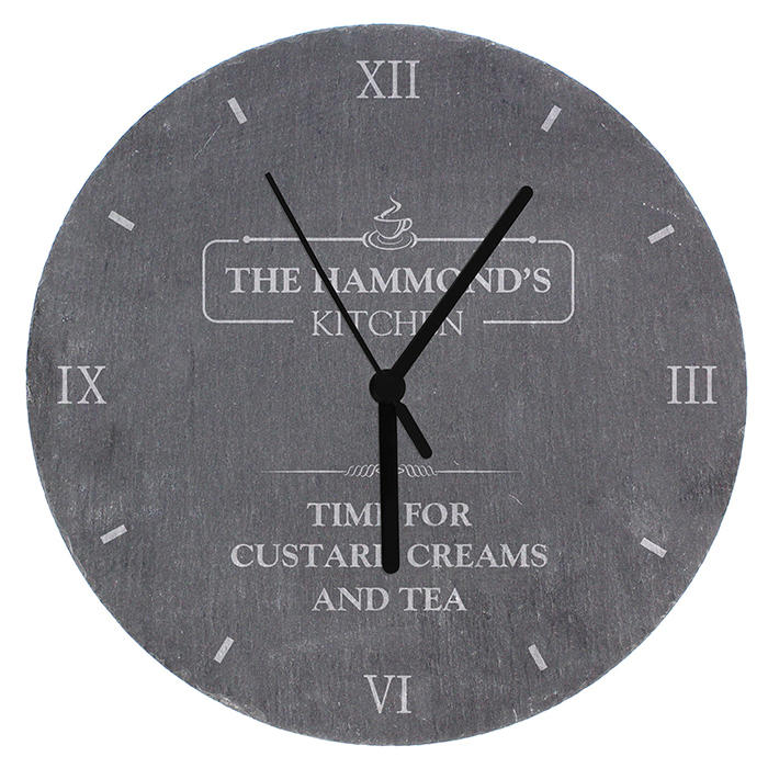 Personalised Family Kitchen Slate Clock