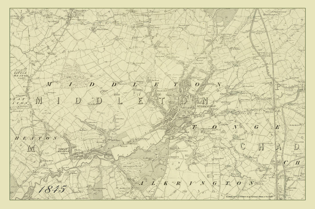 1845 Middleton Map Pack of 2 Tea Towels