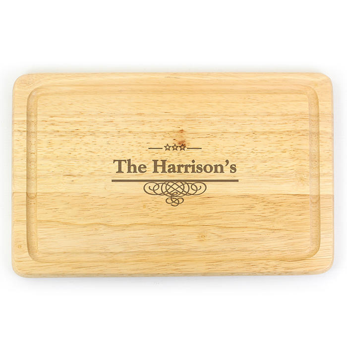 Decorative Swirl Rectangular Wooden Chopping Board (personalised)