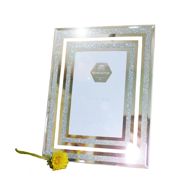 "Mirror glitter photo frame (4"" x 6"")"