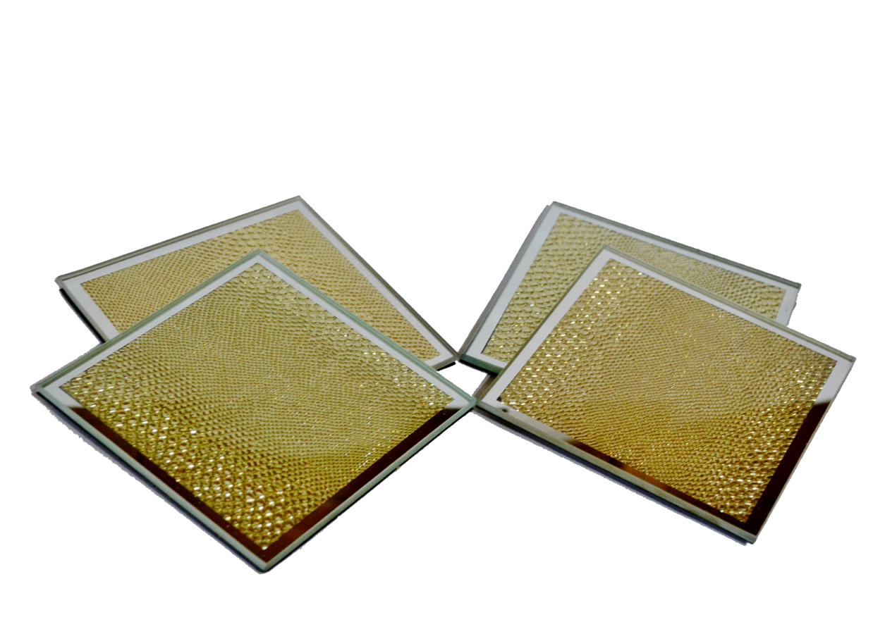 Gold Snakeskin Mirrored Glass Set of Four Coasters