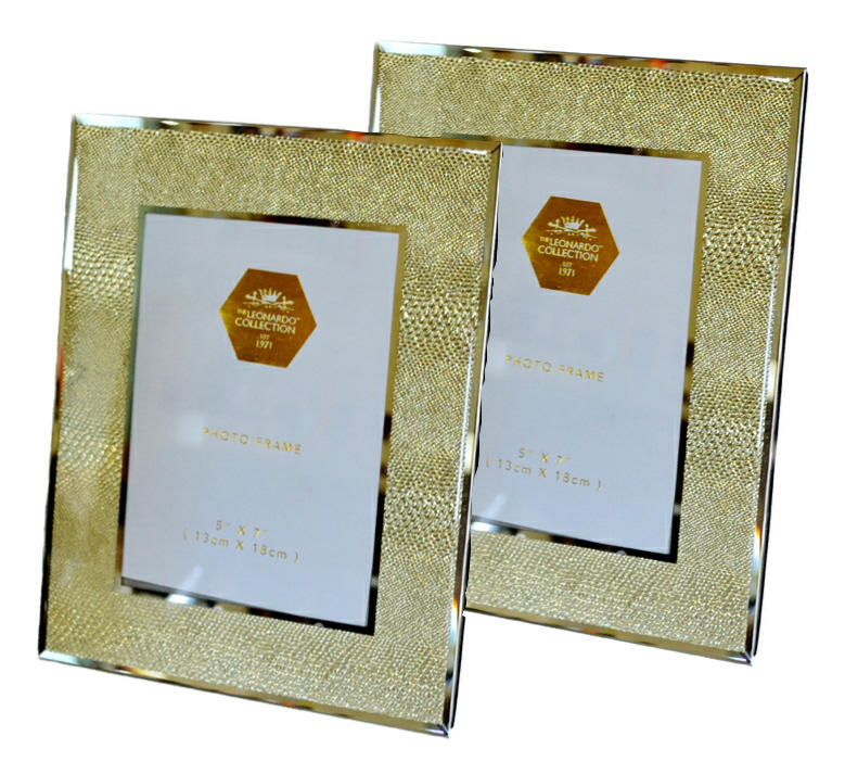 "2 Gold snakeskin mirrored glass photo frame (5"" x 7"")"