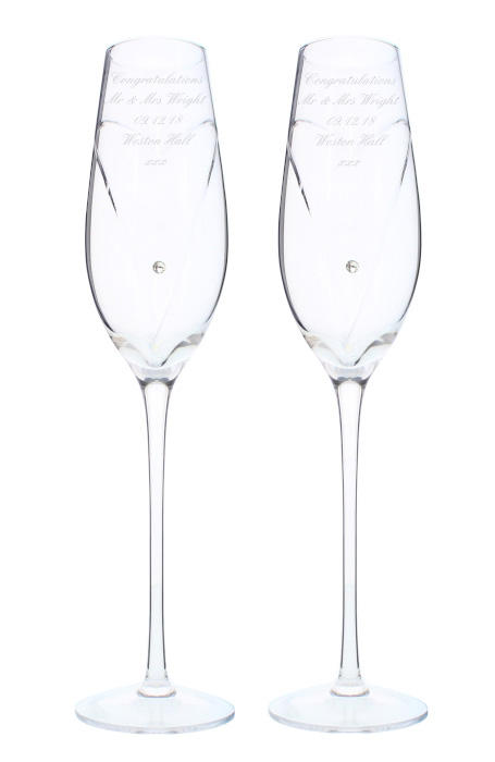 Personalised Pair of Diamante Flutes with Swarovski