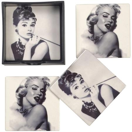 Film Icon Set of Four Coasters in Holder
