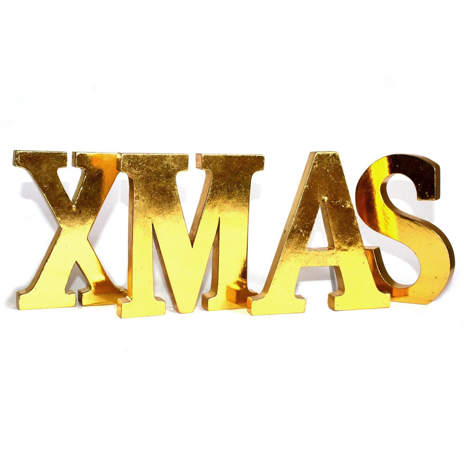 'XMAS' Ornamental Gold Letters