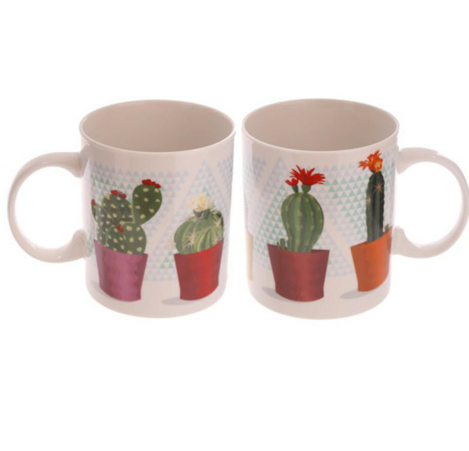 Pair of Lauren Billingham cactus bone china mugs