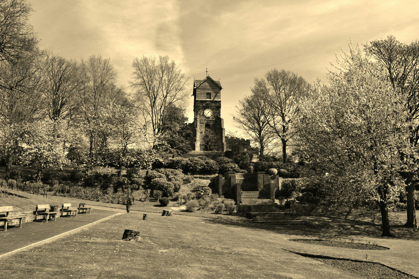 St Leonard's church from Jubilee Park in sepia