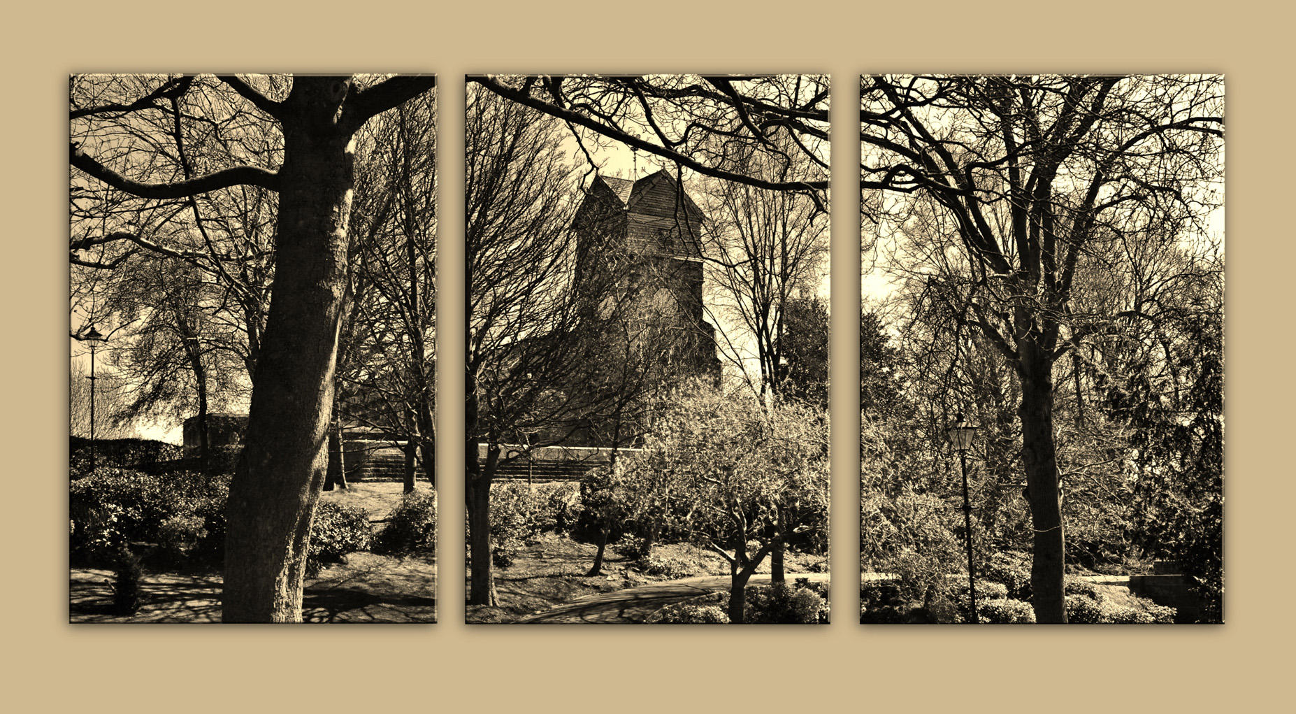 St Leonard's from Jubilee Park in sepia