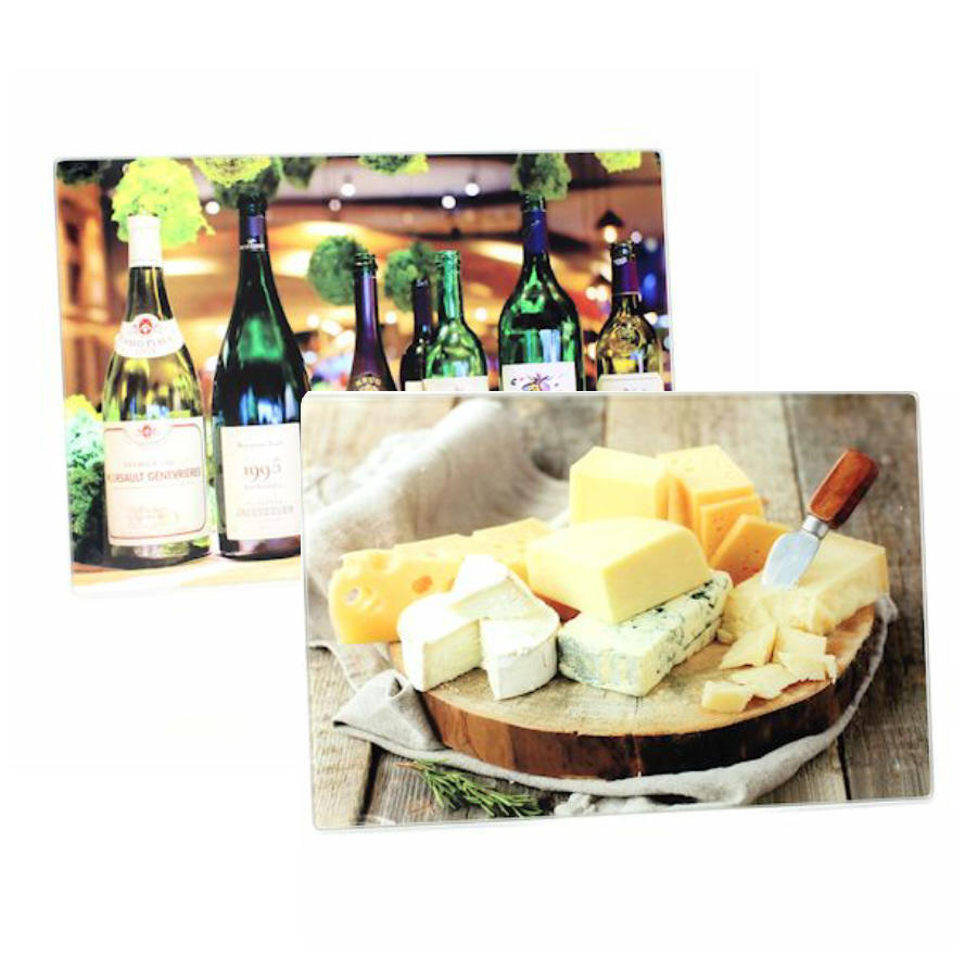 Cheeses or Wine Bottles Small Glass Cutting Boards