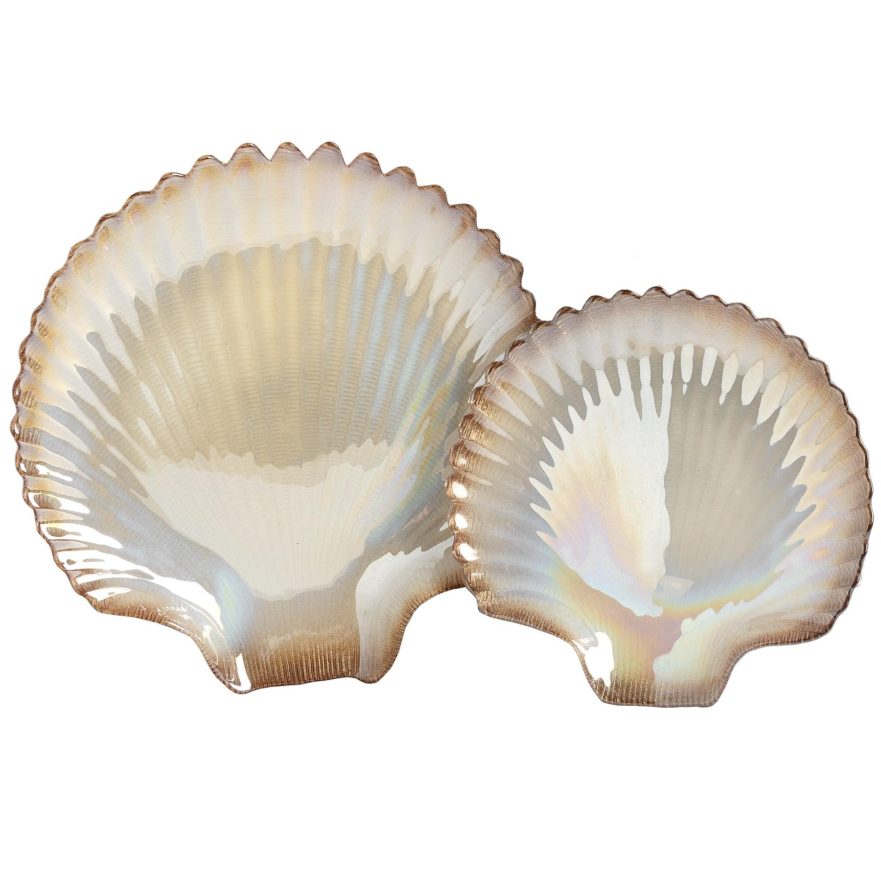 Set of 2 gold and cream clam shell display dishes