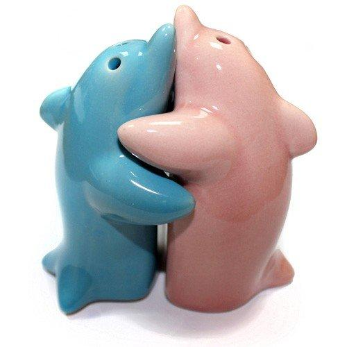 Set of Hugging Dolphins salt & pepper shakers (large)