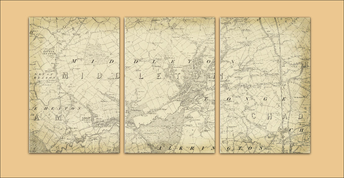 1845 Middleton Map Triptych