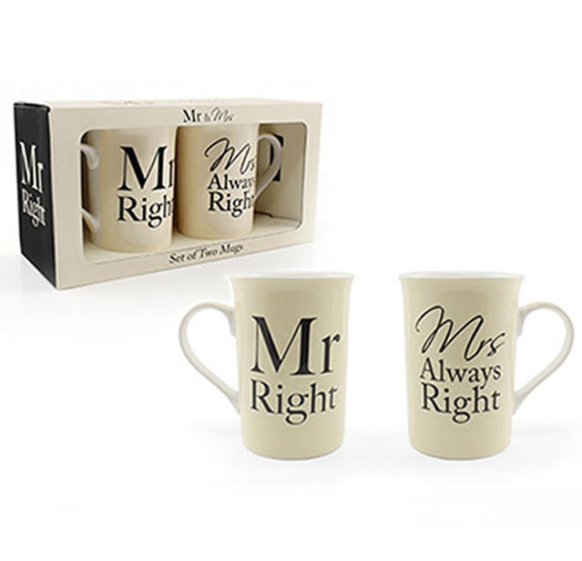 Mr & Mrs Right Fine China Mug Double Gift Set