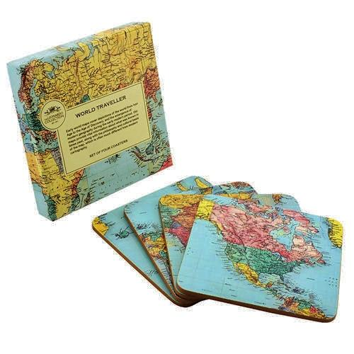 World Traveller Set Of Four Coasters