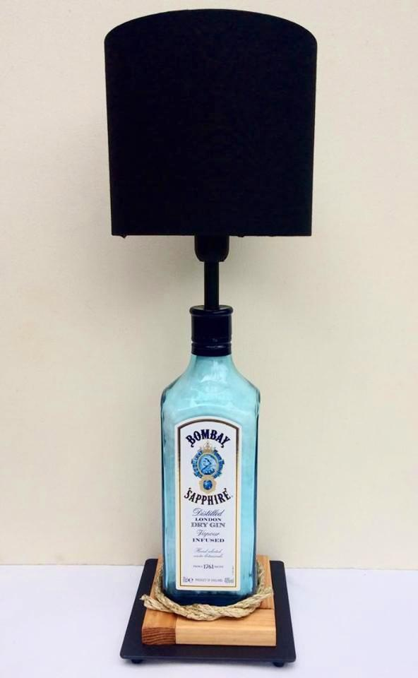 Bombay Sapphire Gin Table Lamp with black shade