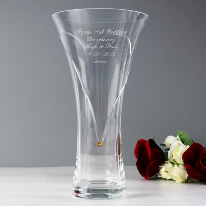 Personalised hand cut infinity vase with Swarovski