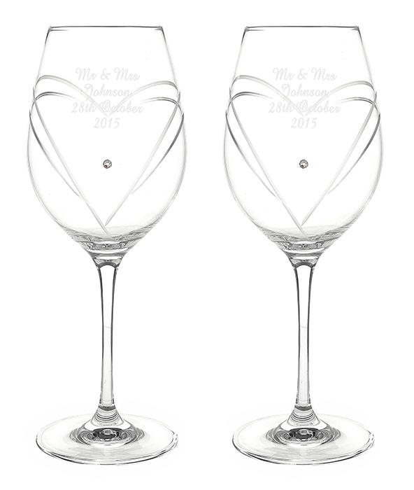 Personalised pair of diamante wine glasses with Swarovski