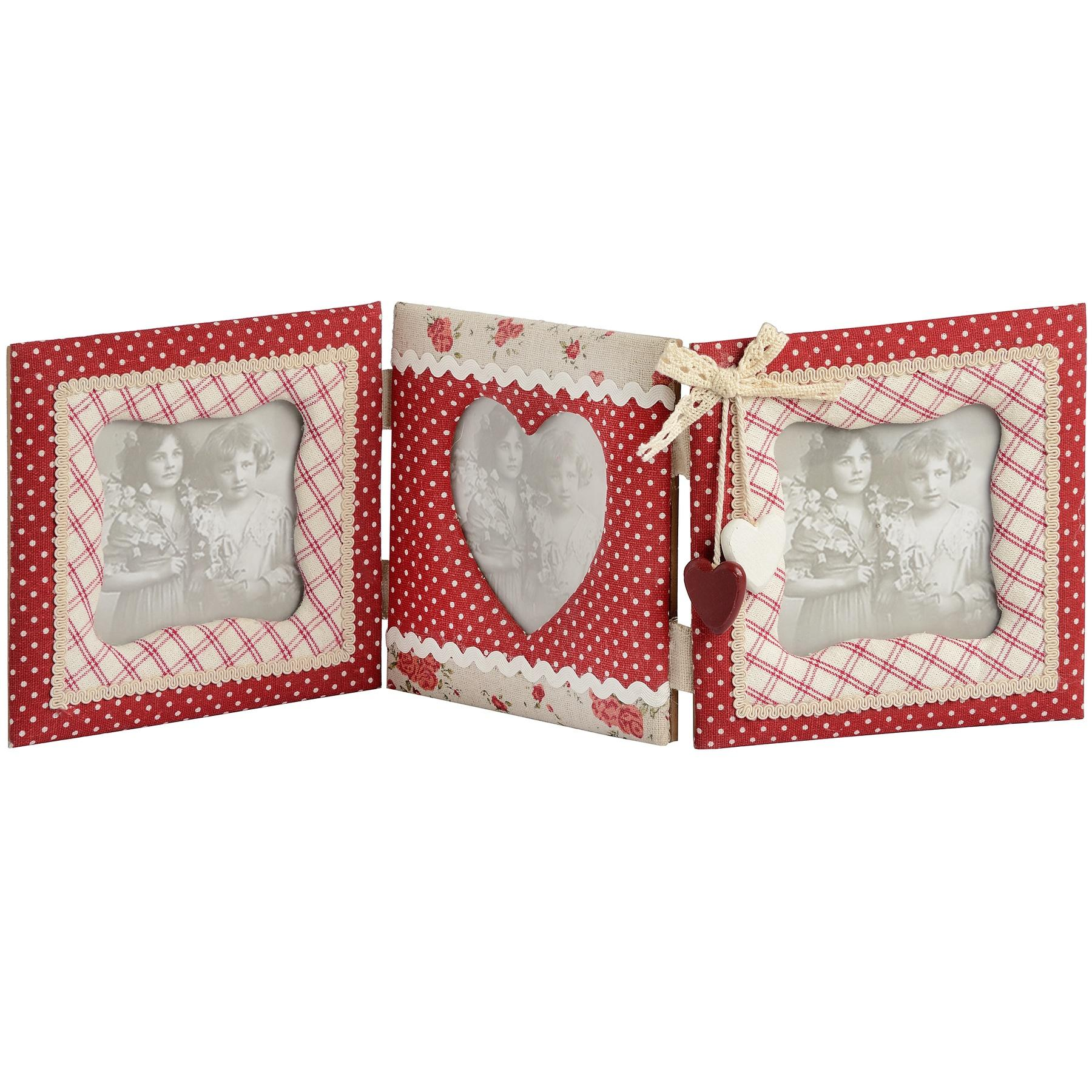 Triple floral fabric portrait photo frame with hearts adornment