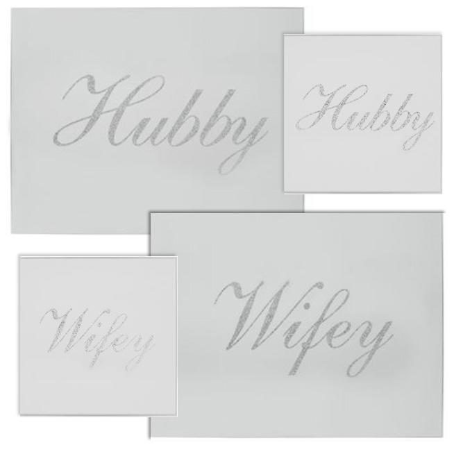 Hubby & Wifey mirrored coaster and placemat sets
