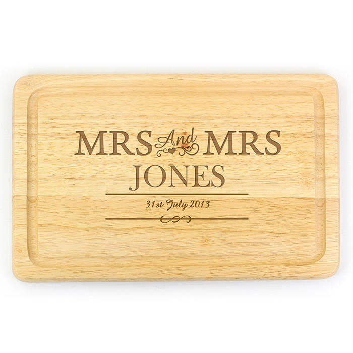 Mrs & Mrs Wooden Chopping Board (personalised)