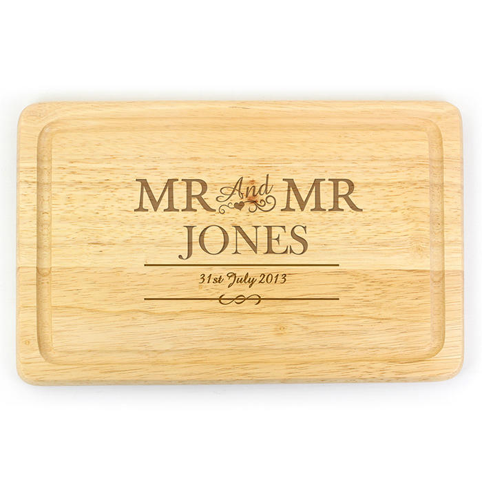 Mr & Mr Rectangular Wooden Chopping Board (personalised)