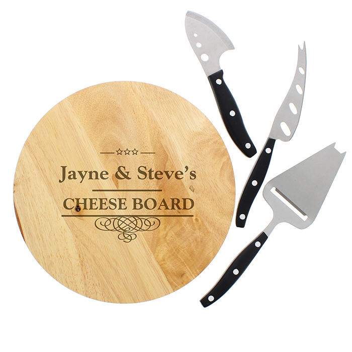 Decorative Swirl Cheeseboard with Cheese Knives (personalised)